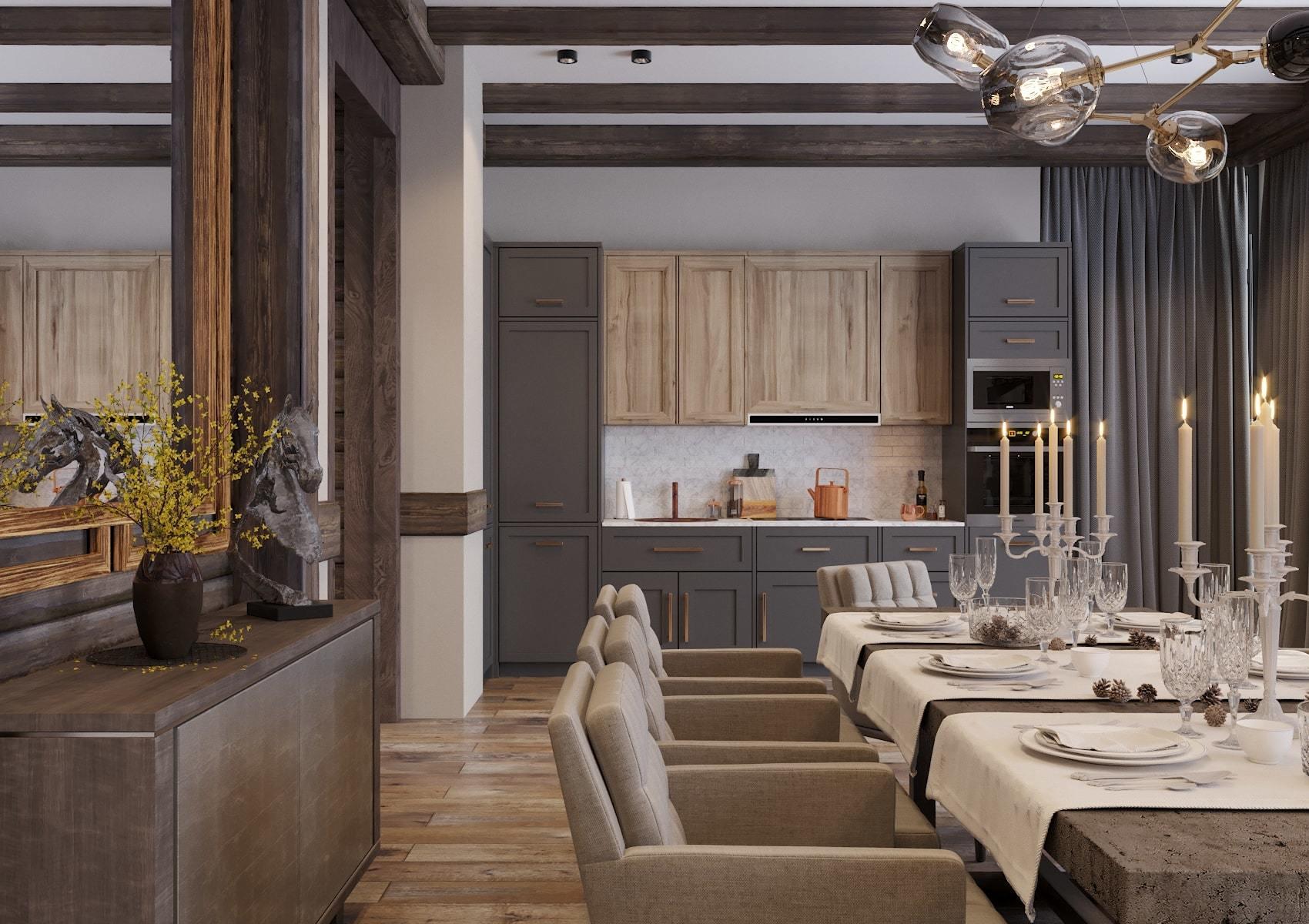 кухня гостиная дизайн интерьер в квартире